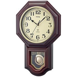 壁掛け時計 振り子時計 電波時計 八角形 鹿鳴館 レトロ おしゃれ 夜間秒針停止 ステップ秒針|kanaemina