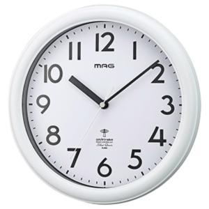 壁掛け時計 電波時計 アナログ ウォールクロック カプタイン 白 シンプル 連続秒針|kanaemina