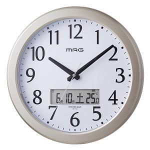 壁掛け時計 電波時計 アナログ かけ時計 ライト 夜間点灯 カレンダー表示付き クロック|kanaemina