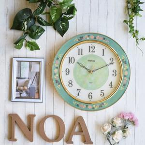 壁掛け時計 可愛い おしゃれ 幅30.6cm 連続秒針 花柄 グリーンローズ インテリアクロック|kanaemina