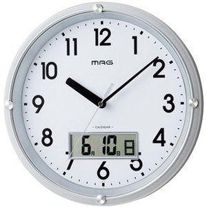 壁掛け時計 アナログ 幅30.2cm 連続秒針 シンプル デイトタイム デジタルカレンダー表示付き kanaemina