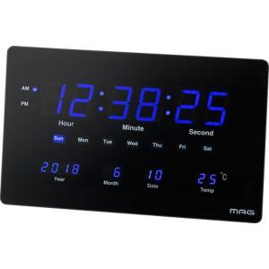 大型デジタル時計 壁掛け置き両用 交流電源式 薄型 長方形 幅36cm おしゃれ 温度計 カレンダー表示付き|kanaemina