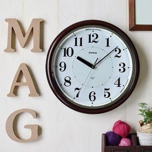 壁掛け時計 常時点灯かけ時計 光感知センサー ライト自動点灯 連続秒針 光明 幅30.7cm|kanaemina