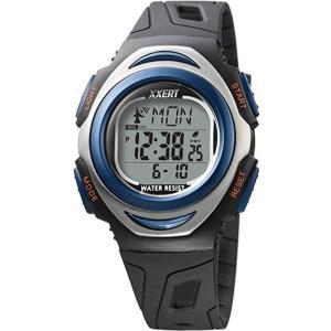 腕時計 メンズ 電波ソーラーウォッチ デジタル 防水 イグザート XXERT スポーティー ブルー|kanaemina