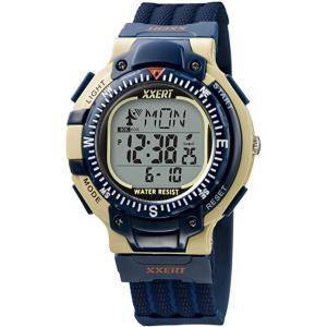 腕時計 メンズ 電波ソーラーウォッチ デジタル 防水 イグザート XXERT アウトドア ネイビーブルー|kanaemina