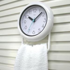 お風呂の時計 置き掛け バスクロック 防滴 防水IPX2 お風呂用時計 バブルコート 白 ホワイト