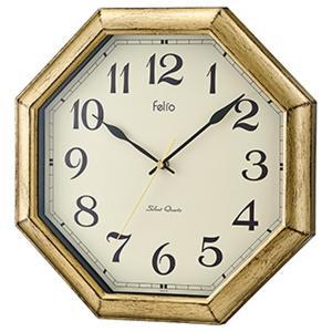 壁掛け時計 かけ時計 ウォールクロック 八角形 金 ゴールド 連続秒針 幅30.2cm おしゃれ|kanaemina