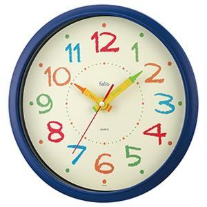 壁掛け時計 キッズクロック 子供部屋 ペイントタイム ブルー おしゃれ かわいい|kanaemina