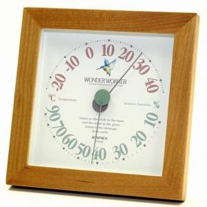 温湿度計 温度計 湿度計 アナログ 四角形 角型 おしゃれ 木製 天然木 ワンダーワーカー|kanaemina