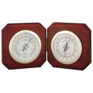 気象計 気圧計/温湿度計 木製デュエット気象計 卓上型