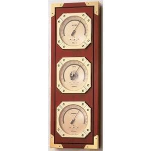 気象計 温湿度計/気圧計 天然木製インテリア ウェザーマスター