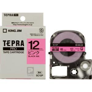 テプラ Pro プロ キングジム テープ カートリッジ SC12P 幅12mm ピンクラベル 黒文字)|kanaemina