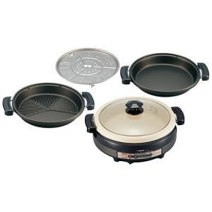 グリル鍋 電気鍋 ホットプレート 象印 卓上グリルなべ 1台4役 土鍋風グリルパン|kanaemina