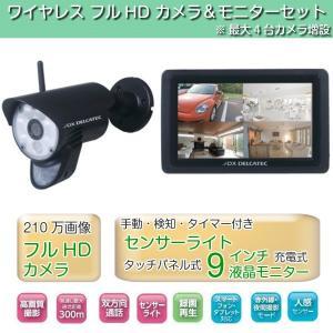 防犯カメラ ワイヤレス HD モニター本体セット WSC610S 録画/再生 人感センサーライト付き 防水 防塵|kanaemina