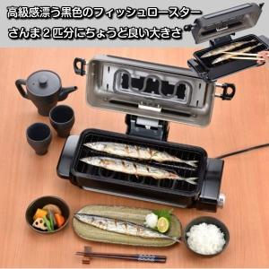 魚焼きグリル フィッシュロースター 魚焼き器 サンマ焼き機器 両面焼き コンパクト ワイド さんま2匹対応 臭いカット|kanaemina