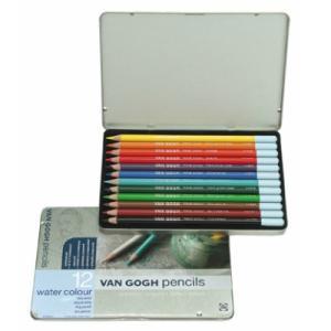 水彩色鉛筆 12色セット ヴァンゴッホ 高品質 高級 水彩色えんぴつ 大人の塗り絵 画材 kanaemina
