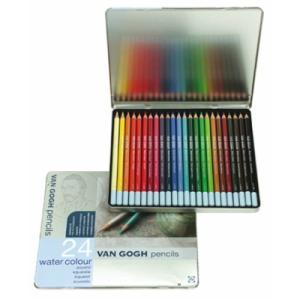 水彩色鉛筆 24色セット ヴァンゴッホ 高品質 高級 水彩色えんぴつ 大人の塗り絵 画材 kanaemina