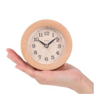 目覚まし時計 アラームクロック 木製 ウッドフレーム 連続秒針 おしゃれ 丸型 円形 置き時計 ビーチ材|kanaemina
