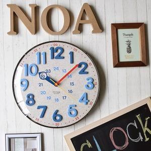 壁掛け時計 電波時計 デニム&コルク調 カジュアル おしゃれ インテリア時計 幅30.5cm|kanaemina
