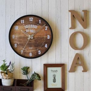 壁掛け時計 ウォールクロック ブルックリン風 ミドルサイズ 幅26cm おしゃれ雑貨 ブラック&グレー|kanaemina