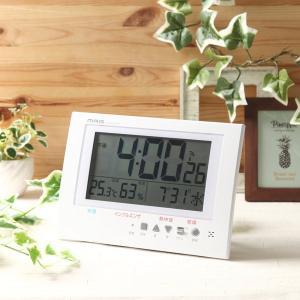 壁掛け時計 置き時計 掛け置き兼用 電波時計 デジタル カレンダー 温湿度計 幅24.5cm|kanaemina