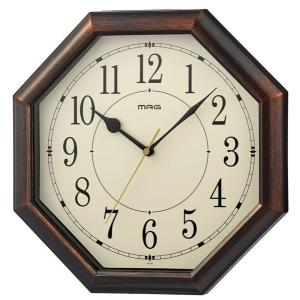 壁掛け時計 電波時計 ウォールクロック 八角形 アナログ インテリア時計 直径30.2cm|kanaemina