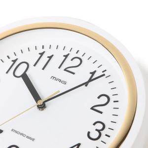 壁掛け時計 電波時計 ウォールクロック アナログ ステップ秒針 直径27.4cm|kanaemina