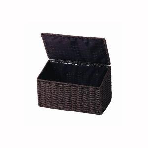サニタリーボックス 蓋付き ワイド ダークブラウン|kanaemina
