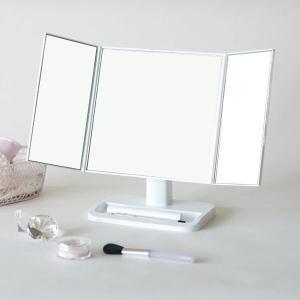 三面鏡 化粧鏡 メイクアップミラー ホワイト|kanaemina