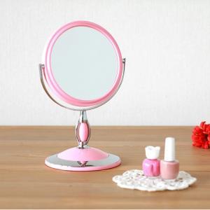 卓上ミラー ラウンド パステルピンク 化粧鏡 コンパクト メイク|kanaemina