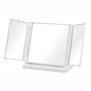 コンパクト卓上ミラー カジュアル 三面鏡 ホワイト 白 メイク 化粧|kanaemina