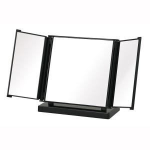 コンパクト卓上ミラー カジュアル 三面鏡 ブラック 黒 メイク 化粧|kanaemina