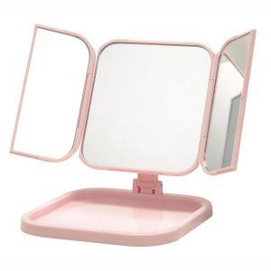 コンパクト卓上ミラー 折りたたみ式 三面鏡 ピンク メイク 卓上|kanaemina