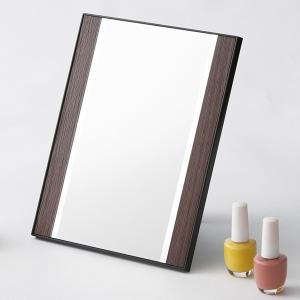 卓上ミラー ダークブラウン コンパクト 化粧鏡 メイク|kanaemina