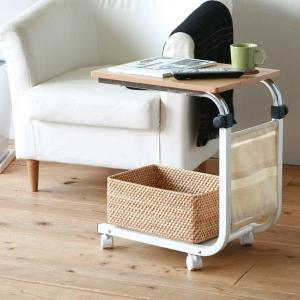 サイドテーブル ソファーサイド ベッドサイド ワゴンテーブル キャスター付き ナチュラル|kanaemina