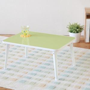 折りたたみテーブル 座卓 幅60cm 折れ脚 作業台 シンプル コンパクト グリーン|kanaemina
