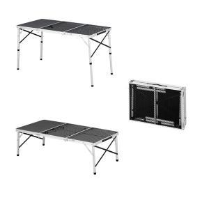 アウトドアテーブル バーベキューテーブル メッシュトップ天板 幅120cm 高さ2段階調節 折りたたみ式|kanaemina