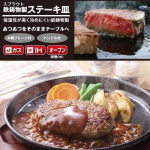 ステーキ皿 大 鉄板 プレート IH対応 オーブン ガス 直火 丸型 円形 20cm 鉄鋳物製|kanaemina