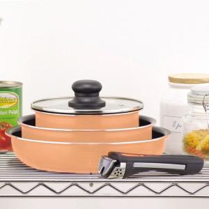 フライパン 鍋 取っ手が取れる調理器具 IH対応 フッ素加工 クックウェア 5点セット オレンジ