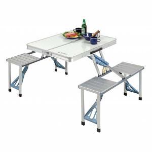 レジャーテーブルチェアー ピクニックテーブル アルミ製 折りたたみ 折り畳み|kanaemina