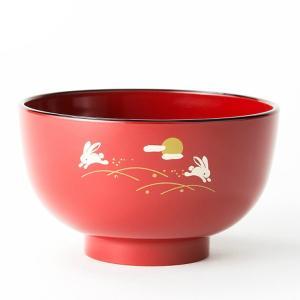 汁椀 お茶碗 洗浄椀 味噌汁椀 おしゃれ 京型はねうさぎ 朱 会津塗 直径11.3cm 食器洗浄機対応 日本製|kanaemina