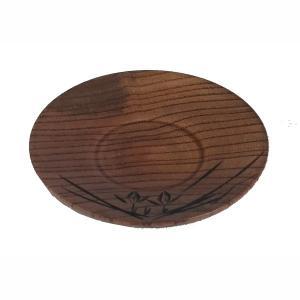 茶托 湯呑受け 湯飲み茶わん置き 茶碗受け 受け皿 漆塗装 木製 蘭彫 4寸(直径11.4cm)|kanaemina