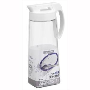 麦茶ポット 冷水筒 ピッチャー 横置き 縦置き 2.1L ホワイト ワンプッシュオープン|kanaemina