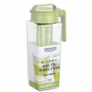 麦茶ポット 茶こし付き 水差し 水出しピッチャー 縦置き 横置き 冷蔵庫ポット 2.1リットル 日本製|kanaemina