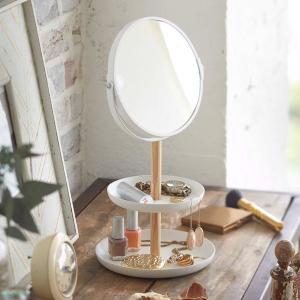 スタンドミラー 卓上 収納トレイ おしゃれ 小型 ミニ メイク鏡 拡大鏡 トスカ 白 ホワイト|kanaemina