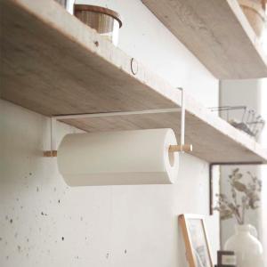 戸棚下キッチンペーパーホルダー スリム 省スペース 縦型 トスカ 白 ホワイト|kanaemina