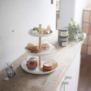 キッチントレイ お菓子ボウル 3段 フルーツバスケット 収納雑貨 おしゃれ トスカ 白 ホワイト|kanaemina
