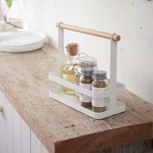 調味料ラック スパイスラック キッチン小物 収納雑貨 持ち手付き トスカ 白 ホワイト|kanaemina