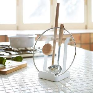 お玉&鍋蓋スタンド お玉スタンド ホルダー ふた置き 鍋ぶた掛け トスカ 白 ホワイト|kanaemina