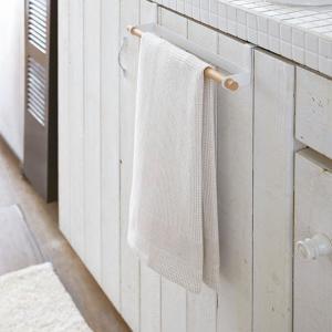 キッチンタオルハンガー シンク下扉 布巾掛け 手ぬぐい 手布巾 ワイド トスカ 白 ホワイト|kanaemina